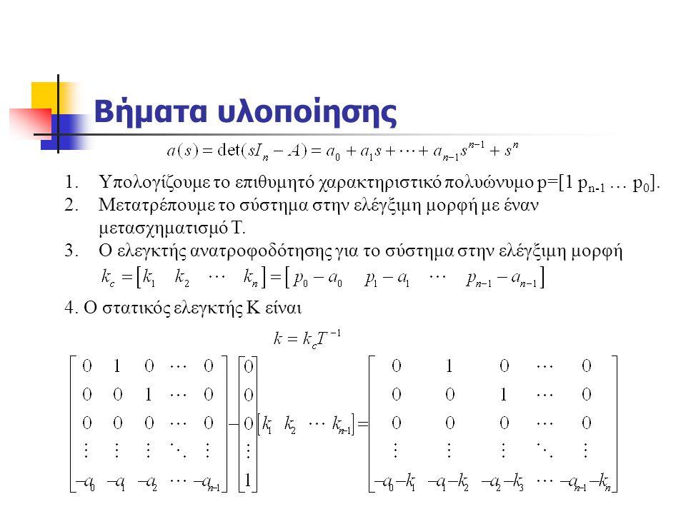 Βήματα υλοποίησης Υπολογίζουμε το επιθυμητό χαρακτηριστικό πολυώνυμο p=[1 pn-1 … p0].